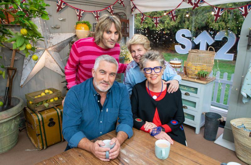 Noel Fielding (top left), Paul Hollywood (bottom left), Sandi Toksvig (top right) and Prue Leith (bottom right) on The Great British Bake Off (Channel 4)