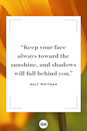 <p>Keep your face always toward the sunshine, and shadows will fall behind you.</p>