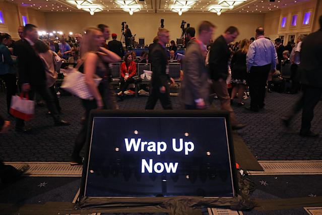 <p>A monitor with instruction for speakers sits in front of the stage during the Conservative Political Action Conference at the Gaylord National Resort and Convention Center, Feb. 23, 2018 in National Harbor, Md. (Photo: Chip Somodevilla/Getty Images) </p>