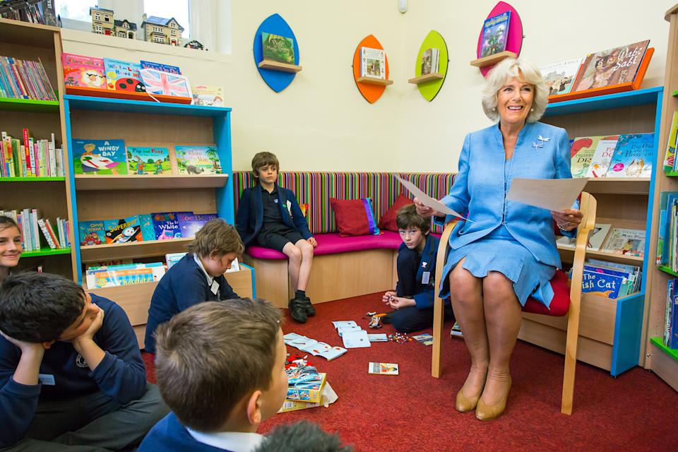 BREAM, ENGLAND - MAY 24: Camilla, Duchess of Cornwall meets members of the 'Lego Club' which is designed to encourage children to read during a visit to the Bream Community Library on May 24, 2018 in Bream, Lydney, Gloucestsershire, England. (Photo by Stephen Shepherd - WPA Pool/Getty Images)