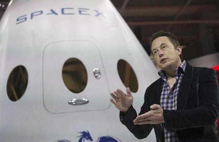 File photo of SpaceX CEO Musk speaking after unveiling the Dragon V2 spacecraft in Hawthorne