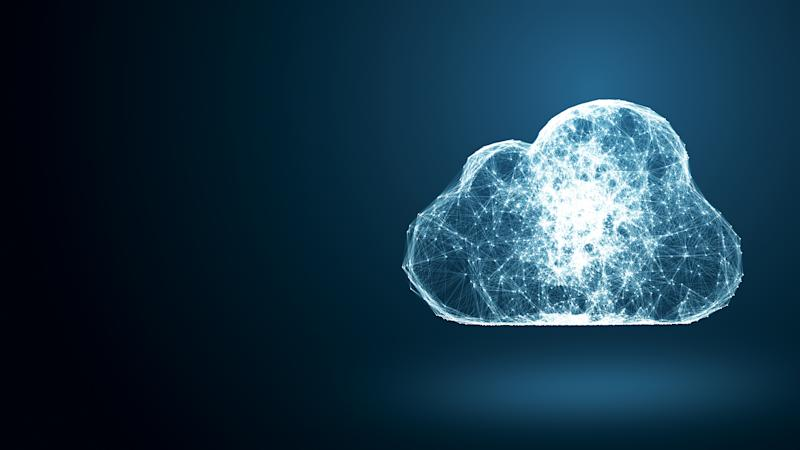 Network connections depicted in the form of a cloud.
