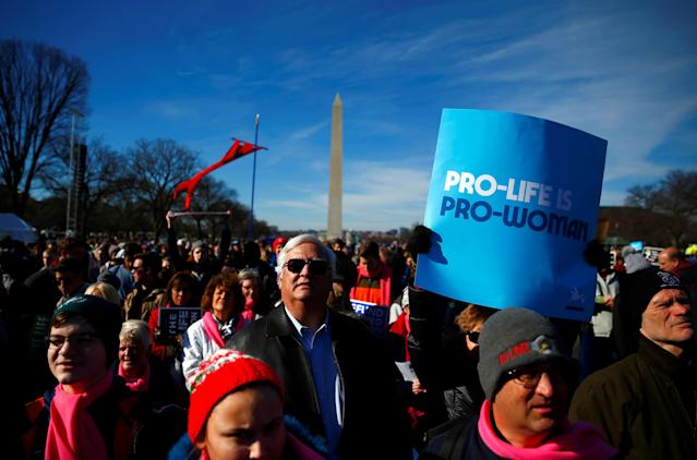 <p>Participants attend the annual March for Life anti-abortion rally in Washington, Jan. 19, 2017. (Photo: Eric Thayer/Reuters) </p>