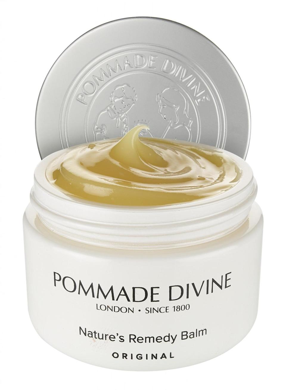 <p>Chemists first sold Pommade Divine's balm from Butler & Co. in the U.K. to the royals more than 200 years ago, and it still uses the same four healing essential oils to this day. With the help of cloves, benzoin, cinnamon, and nutmeg, Pommade Divine heals dryness, scrapes, bruises, and rough heels or elbows. (Photo: Pommade Divine)</p>