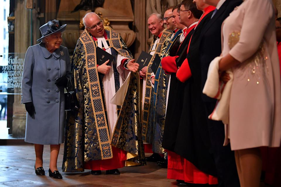 Britain's Queen Elizabeth II (L) and The Very Reverend Dr David Hoyle, Dean of Westminster (2nd-L) attend the annual Commonwealth Service at Westminster Abbey in London on March 09, 2020. - Britain's Queen Elizabeth II has been the Head of the Commonwealth throughout her reign. Organised by the Royal Commonwealth Society, the Service is the largest annual inter-faith gathering in the United Kingdom. (Photo by Ben STANSALL / POOL / AFP) (Photo by BEN STANSALL/POOL/AFP via Getty Images)
