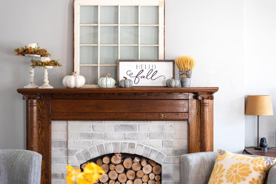 """<p>Everyone knows that Ree Drummond has a gorgeous stone fireplace in <a href=""""https://www.thepioneerwoman.com/ree-drummond-life/a35714966/where-is-the-pioneer-woman-filmed/"""" rel=""""nofollow noopener"""" target=""""_blank"""" data-ylk=""""slk:The Lodge"""" class=""""link rapid-noclick-resp"""">The Lodge</a>, perfect for cozying up in front of on a chilly evening. If you also have one in your home, you know that as soon as the weather starts to cool down, it's time to gather pretty fall mantel décor ideas and decorate for the season! </p><p>Even though there's plenty of eye-pleasing <a href=""""https://www.thepioneerwoman.com/home-lifestyle/decorating-ideas/g32319900/fireplace-decor-ideas/"""" rel=""""nofollow noopener"""" target=""""_blank"""" data-ylk=""""slk:fireplace décor ideas"""" class=""""link rapid-noclick-resp"""">fireplace décor ideas</a> that can live on your mantel all year long, you can certainly make the space look extra-special for autumn. While you're at it, why not create these accents with your own two hands? With the help of brilliant bloggers and their tutorials, you can make <em>so many</em> <a href=""""https://www.thepioneerwoman.com/home-lifestyle/crafts-diy/g36890184/diy-fall-decorations/"""" rel=""""nofollow noopener"""" target=""""_blank"""" data-ylk=""""slk:DIY fall decorations"""" class=""""link rapid-noclick-resp"""">DIY fall decorations</a> for your fireplace. Think dried wreaths, leafy garlands, sweet banners, seasonal artwork, <a href=""""https://www.thepioneerwoman.com/home-lifestyle/entertaining/g32392289/fall-candles/"""" rel=""""nofollow noopener"""" target=""""_blank"""" data-ylk=""""slk:fall candles"""" class=""""link rapid-noclick-resp"""">fall candles</a>, neutral flower arrangements, painted pumpkins, and more!</p><p>After you put together your DIY fall mantel decorations, we recommend cozying in with a savory pumpkin snack or a slice of apple pie and admiring all that handiwork lit by a crackling fire. And if you're ready for another challenge, there are plenty of <a href=""""https://www.thepioneerwoman.com/home-lifestyle/decorating-ideas"""