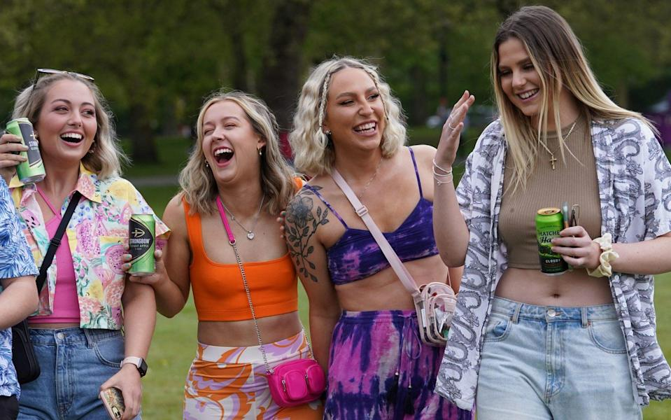 Revellers arriving for a music festival in Sefton Park in Liverpool as part of the national Events Research Programme (ERP). Picture date: Sunday May 2, 2021. PA Photo. The festival includes performances from Blossoms, The Lathums and Liverpool singer-songwriter Zuzu. Gig-goers will not have to wear face coverings or social distance. Photo credit should read: Danny Lawson/PA Wire - Danny Lawson/PA Wire