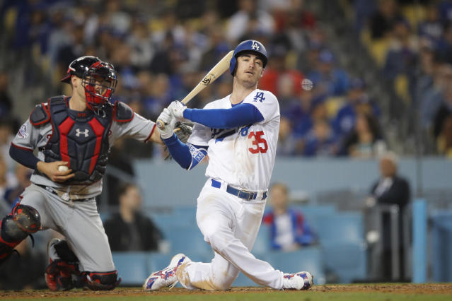 Los Angeles Dodgers' Cody Bellinger strikes out during the seventh inning of a baseball game against the Washington Nationals, Friday, April 20, 2018, in Los Angeles. (AP Photo/Jae C. Hong)