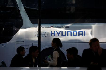 The logo of Hyundai Motors is seen at the company's headquarters in Seoul, South Korea, March 22, 2019.     REUTERS/Kim Hong-Ji
