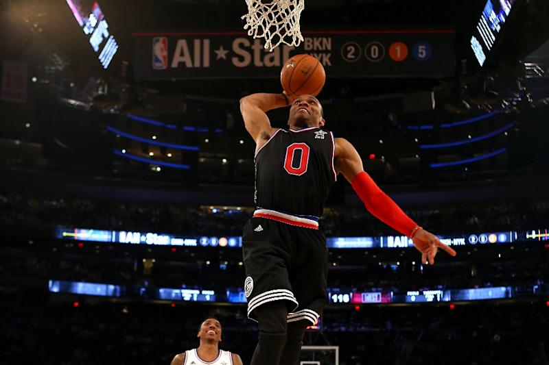 Russell Westbrook of the Oklahoma City Thunder, pictured during the 2015 NBA All-Star Game, posted his eighth triple-double of the season with 29 points, 12 assists and 10 rebounds to lead the Thunder to a 113-99 win over the Minnesota Timberwolves