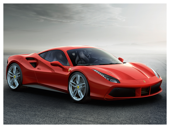 A red Ferrari 488GTB, a low-slung two-seat sports car with dramatic styling.