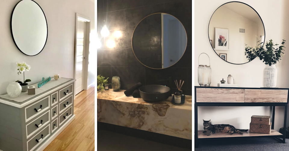 Facebook users share their looks for the $30 Kmart large round mirror. Photo: Facebook