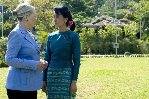 Hillary Clinton met Suu Kyi for the first time on a landmark December visit to Yangon