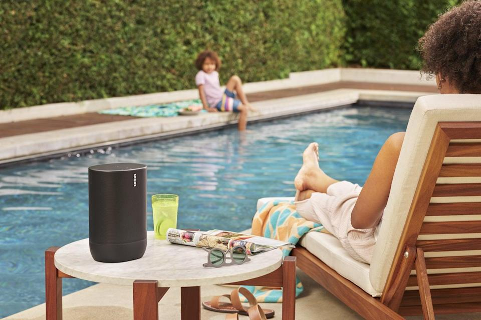 The Sonos Move speaker can be enjoyed in the home or by the pool, with IP56 water-resistant rating to protect it from splashes (Sonos)
