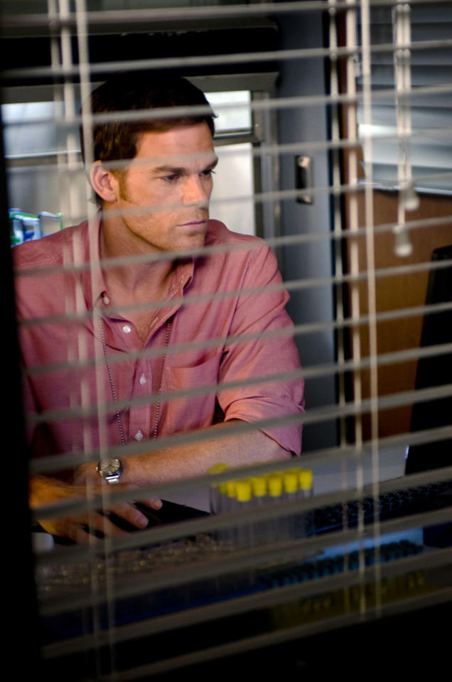 "Michael C. Hall as Dexter Morgan in the ""Dexter"" episode, ""Chemistry."""