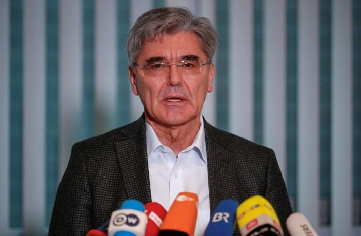 Siemens CEO Joe Kaeser attends a news conference after talks with climate activists in Berlin