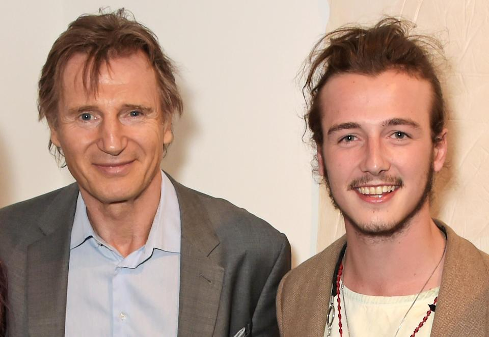 Liam Neeson and son Micheál Richardson, together in 2015, co-star in a new movie together that parallels the grief they've experienced after the 2009 death of Natasha Richardson. (Photo: David M. Benett/Getty Images for Maison Mais Non)