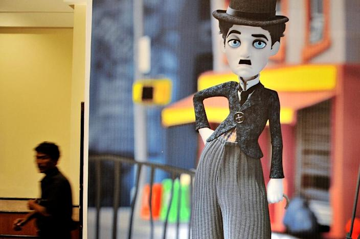 A cutout showing an animated likeness of late British comedian Charlie Chaplin (AFP Photo/Pal Pillai)