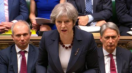 Britain's Prime Minister Theresa May addresses the House of Commons on her government's reaction to the poisoning of former Russian intelligence officer Sergei Skripal and his daughter Yulia in Salisbury, in London