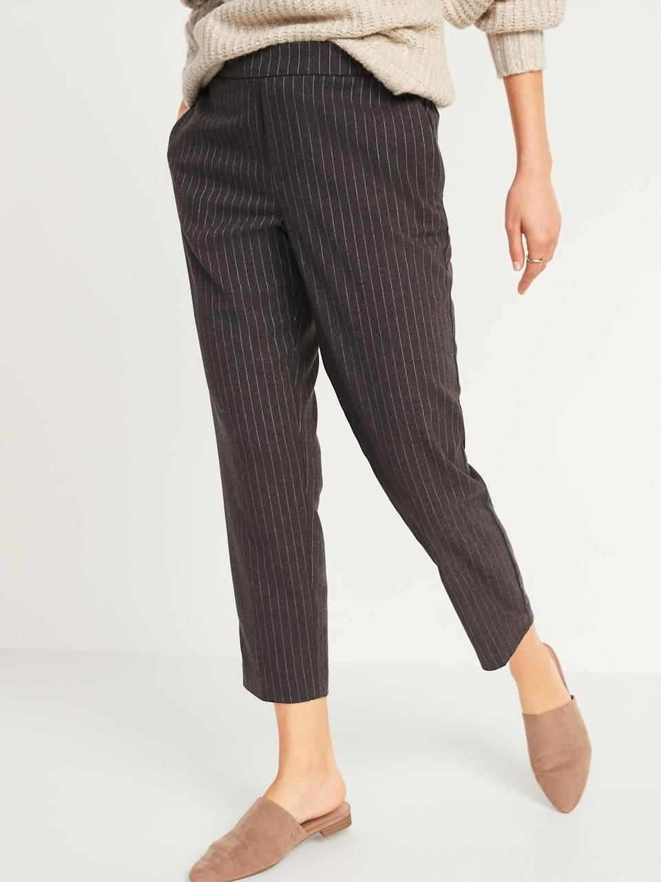 <p>Wear these <span>Old Navy Mid-Rise Straight Plaid Pull-On Ankle Pants</span> ($28, originally $40) with loafers to the office.</p>