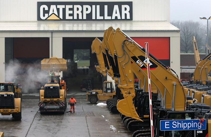 FILE - This Thursday, Feb. 28, 2013, file photo shows a parking lot at Caterpillar Belgium, in Gosselies, Belgium. Caterpillar Inc. reports quarterly financial results before the market opens on Monday, April 22, 2013. (AP Photo/Yves Logghe, File)