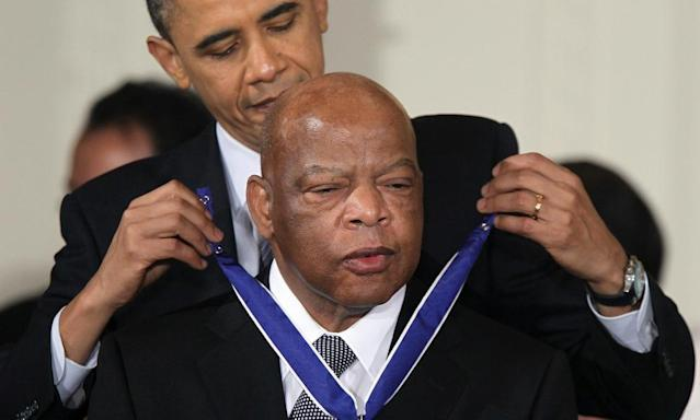 "<span class=""element-image__caption"">John Lewis is presented with the Medal of Freedom by Barack Obama in 2010.</span> <span class=""element-image__credit"">Photograph: Alex Wong/AFP/Getty Images</span>"