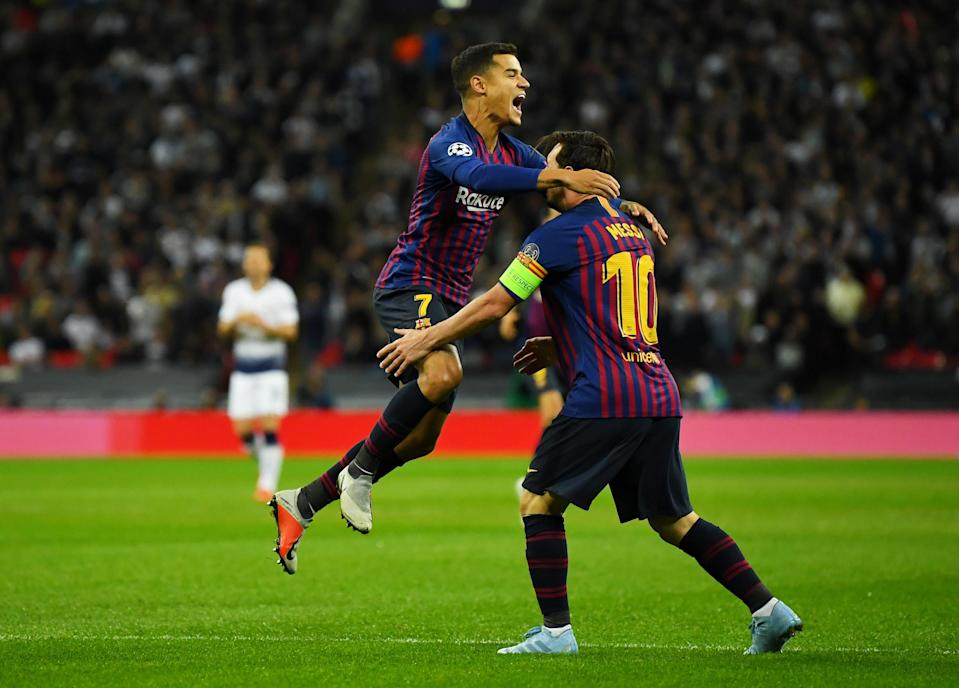 "Philippe Coutinho (left) celebrates his early goal with <a class=""link rapid-noclick-resp"" href=""/soccer/teams/barcelona/"" data-ylk=""slk:Barcelona"">Barcelona</a> teammate Lionel Messi (REUTERS/Dylan Martinez)"