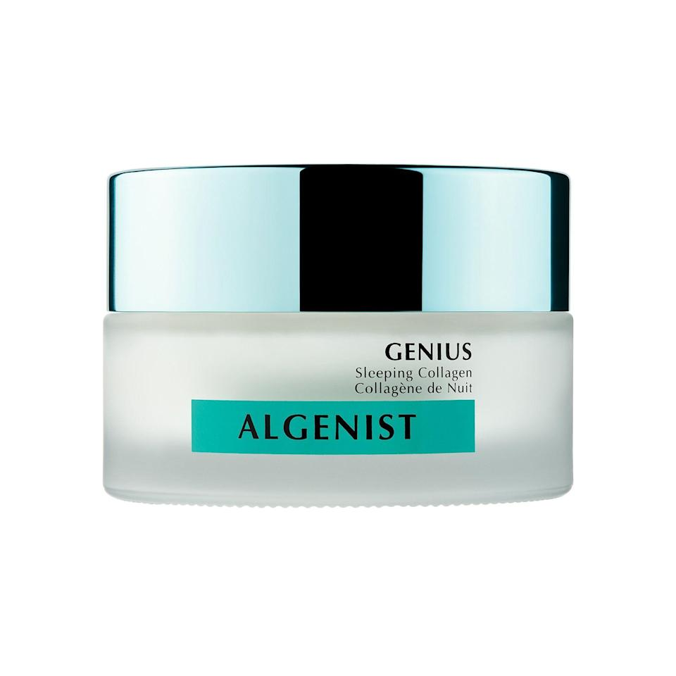"""<p><strong>Algenist</strong></p><p>sephora.com</p><p><strong>$98.00</strong></p><p><a href=""""https://go.redirectingat.com?id=74968X1596630&url=https%3A%2F%2Fwww.sephora.com%2Fproduct%2Fgenius-sleeping-collagen-P439055&sref=https%3A%2F%2Fwww.townandcountrymag.com%2Fstyle%2Fbeauty-products%2Fg33327892%2Fbest-collagen-creams%2F"""" rel=""""nofollow noopener"""" target=""""_blank"""" data-ylk=""""slk:Shop Now"""" class=""""link rapid-noclick-resp"""">Shop Now</a></p><p>For a cushiony complexion overnight, slather on this rich, buttery cream, in which Algenist's patented Alguronic Acid is matched with an exclusive vegan collagen. </p>"""