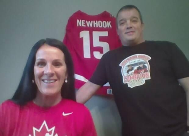 Paula and Shawn Newhook got to watch their son, Alex Newhook, play his first professional hockey game from their home in St. John's. (CBC Here & Now - image credit)