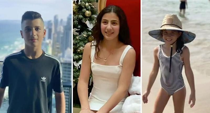The three Abdallah children killed in the crash. Pictured L-R is Antony, Angelina and Sienna. Source: Nine