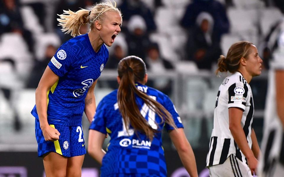 Pernille Harder struck Chelsea's winner in front of a bumper crowd in Turin - AFP