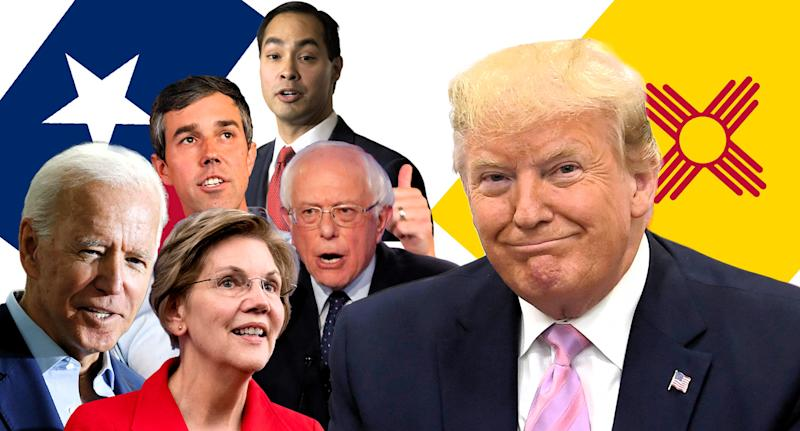 Joe Biden, Beto O'Rourke, Elizabeth Warren, Julian Castro, Bernie Sanders and Donald Trump. (Photo illustration: Yahoo News; photos: AP)