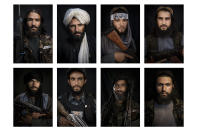 A combo image shows portraits of Taliban fighters taken at various police stations in Kabul, Afghanistan, from Sept. 16 to 22, 2021. (AP Photo/Felipe Dana)