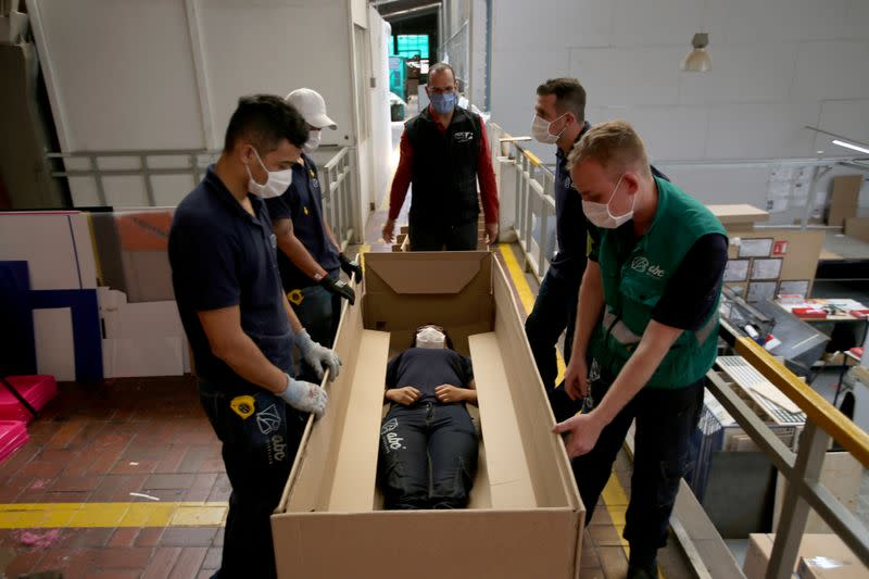 Colombian businessman makes hospital bed-coffin combo to serve coronavirus dead