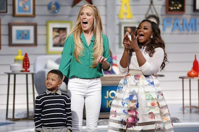 Cat Deeley, center, is the host of the new show <em>Big Little Star,</em> where celebrities like Phaedra Parks and her son, Ayden, compete for charity. (Photo: Getty Images)