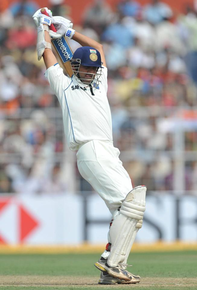 KOLKATA, INDIA - FEBRUARY 15: Gautam Gambhir of India avoids a bouncer during day two of the Second Test match between India and South Africa at Eden Gardens on February 15, 2010 in Kolkata, India. (Photo by Duif du Toit/Gallo Images)