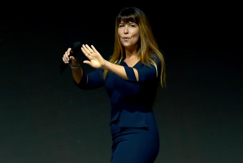 SAN DIEGO, CA - JULY 21:  Patty Jenkins walks onstage at the Warner Bros. 'Wonder Woman 1984' theatrical panel during Comic-Con International 2018 at San Diego Convention Center on July 21, 2018 in San Diego, California.  (Photo by Kevin Winter/Getty Images)