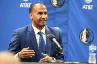 New Dallas Mavericks NBA basketball team general manager Nico Harrison speaks at an introductory press conference in Dallas, Thursday, July 15, 2021. (AP Photo/Matt Strasen)