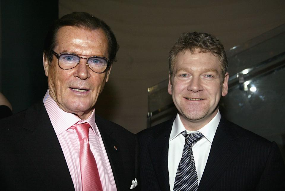 """NEW YORK - MARCH 30: Former guest star Roger Moore (L) and director Kenneth Branagh attend the opening night party for """"The Play What I Wrote"""" at Blue Fin Times Square March 30, 2003 in New York City. (Photo By Bruce Glikas/Getty Images)"""