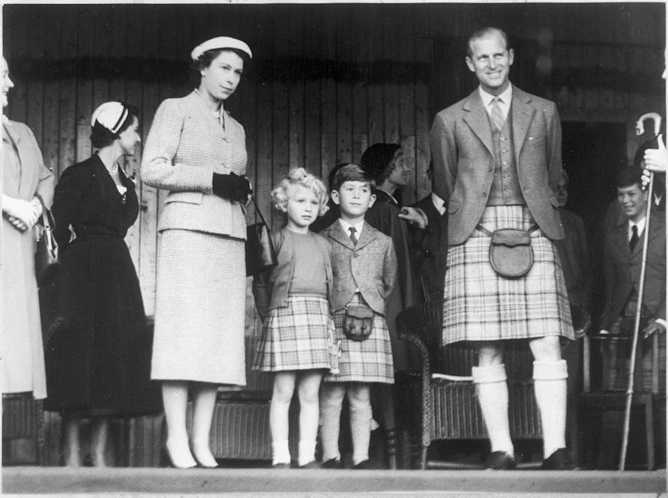 Queen Elizabeth with Anne, Charles and Philip, circa 1956.
