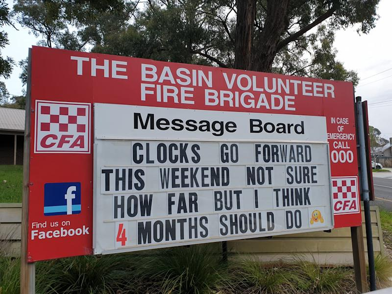 A sign at Basin Volunteer Fire Bridgade reminds people to set their clocks forward for daylight savings.