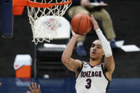 Gonzaga's Andrew Nembhard shoots during the second half of the team's NCAA college basketball game against West Virginia, Wednesday, Dec. 2, 2020, in Indianapolis. (AP Photo/Darron Cummings)