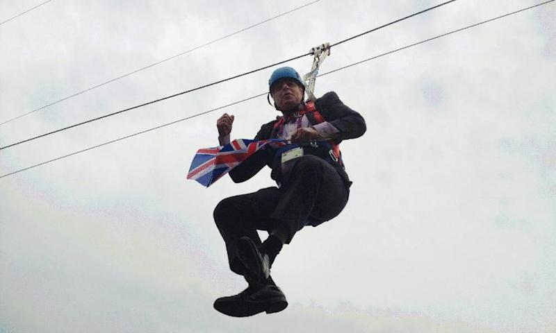 While mayor of London, Boris Johnson got stranded on a zipwire while trying to make a dramatic entry to a London 2012 Olympic party.
