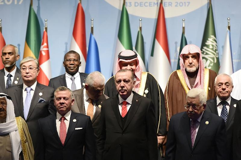 Erdogan, whose country holds the rotating chairmanship of the OIC, convened the emergency summit of Muslim leaders to denounce Trump's move (AFP Photo/YASIN AKGUL)