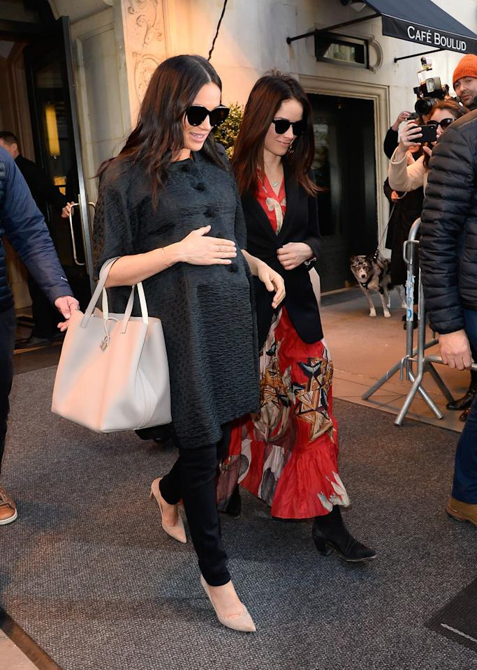 "<p><em>February 19, 2019</em> - Back in the U.S. for her private baby shower, Meghan Markle exited Cafe Boulud in New York City wearing an all-black look, minus a gray <a rel=""nofollow"" href=""https://www.neimanmarcus.com/c/designers-carolina-herrera-cat13790832"">Carolina Herrera</a> tote bag. The Duchess's <a rel=""nofollow"" href=""https://shop.nordstrom.com/s/le-specs-air-heart-51mm-sunglasses/4446390"">$70 Le Specs Air Heart cat-eye shades</a> unsurprisingly sold out on <a rel=""nofollow"" href=""https://www.amazon.com/Specs-Womens-Heart-Mirrored-Sunglasses/dp/B01LLLKBXW"">Amazon</a> within a matter of minutes.</p>"