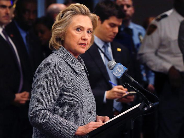 Former US Secretary of State Hillary Clinton speaks during a news conference at the United Nations in New York.JPG