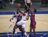 New York Knicks guard RJ Barrett (9) drives to the basket during the third quarter against the Detroit Pistons in an NBA basketball game Thursday, March 4, 2021, in New York. (Wendell Cruz/Pool Photo via AP)
