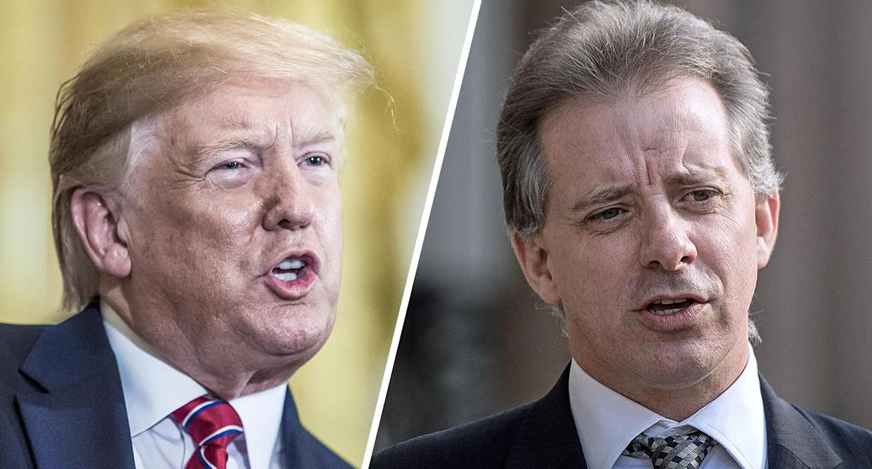 President Trump and former MI6 agent Christopher Steele (Photos: Zach Gibson/Pool via Bloomberg/Getty Images, Victoria Jones/PA Images via Getty Images)