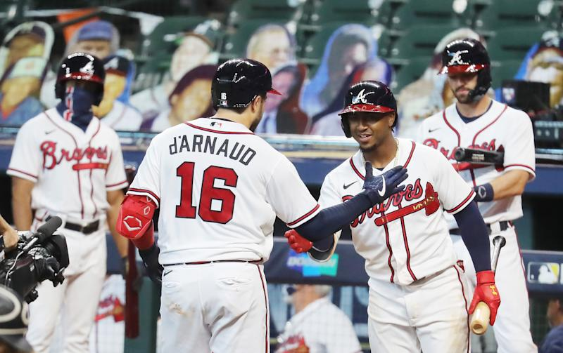 Travis d'Arnaud hit one of two Braves homers to take a 2-0 series lead over the Marlins. (Photo by Bob Levey/Getty Images)