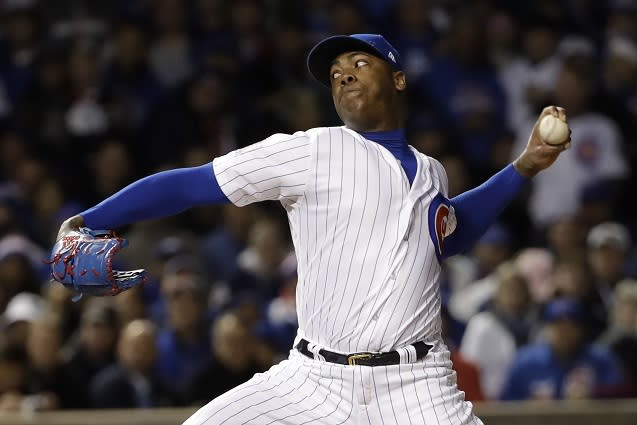 Closer Aroldis Chapman was a big addition to the 2016 Chicago Cubs World Series championship team. (AP)